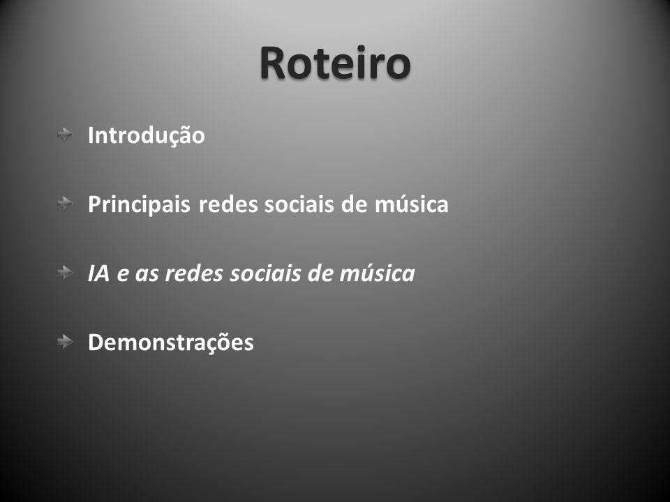 Roteiro Introdução Principais redes sociais de música IA e as redes sociais de música Demonstrações