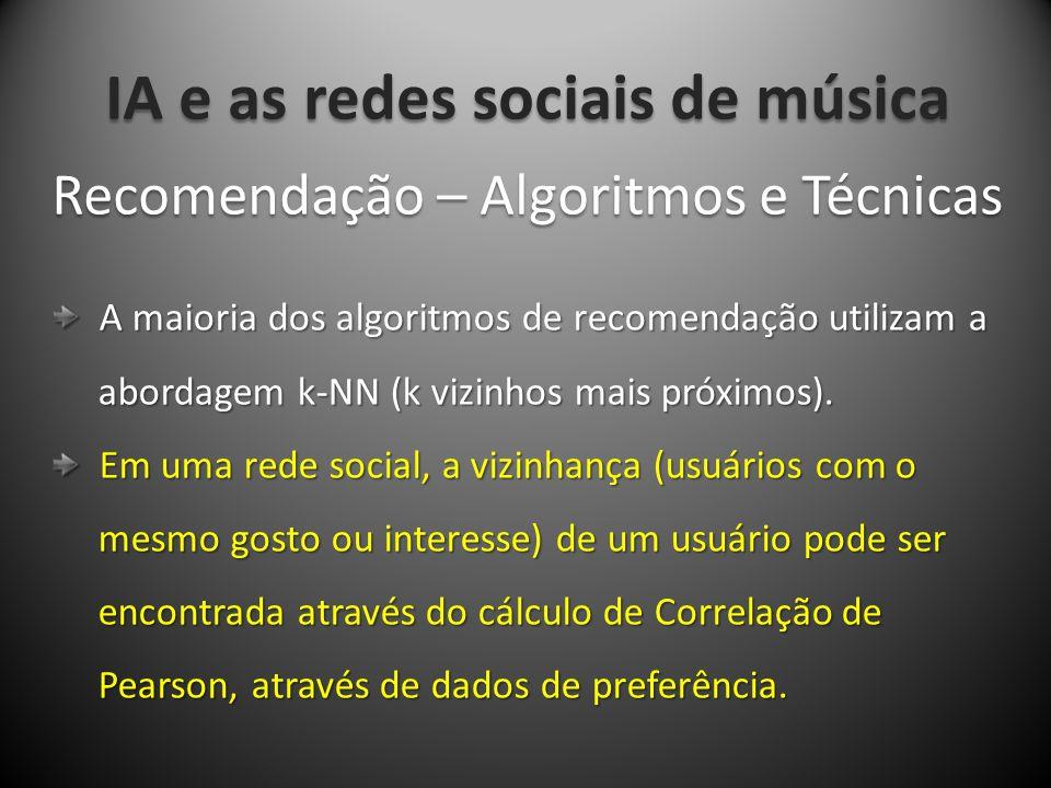 IA e as redes sociais de música A maioria dos algoritmos de recomendação utilizam a A maioria dos algoritmos de recomendação utilizam a abordagem k-NN