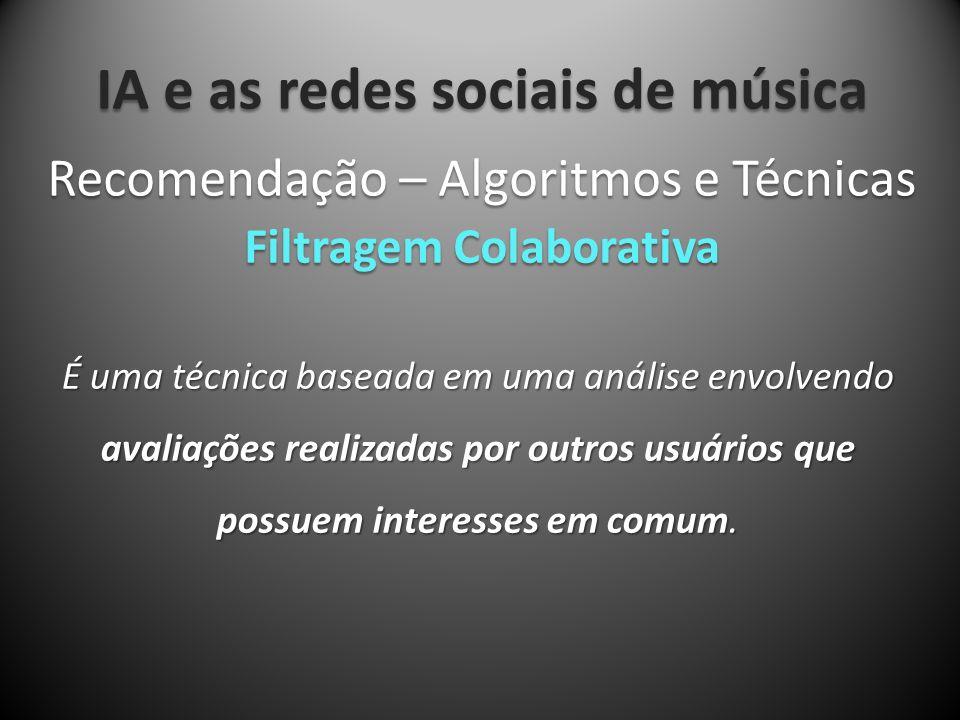 IA e as redes sociais de música É uma técnica baseada em uma análise envolvendo avaliações realizadas por outros usuários que possuem interesses em co
