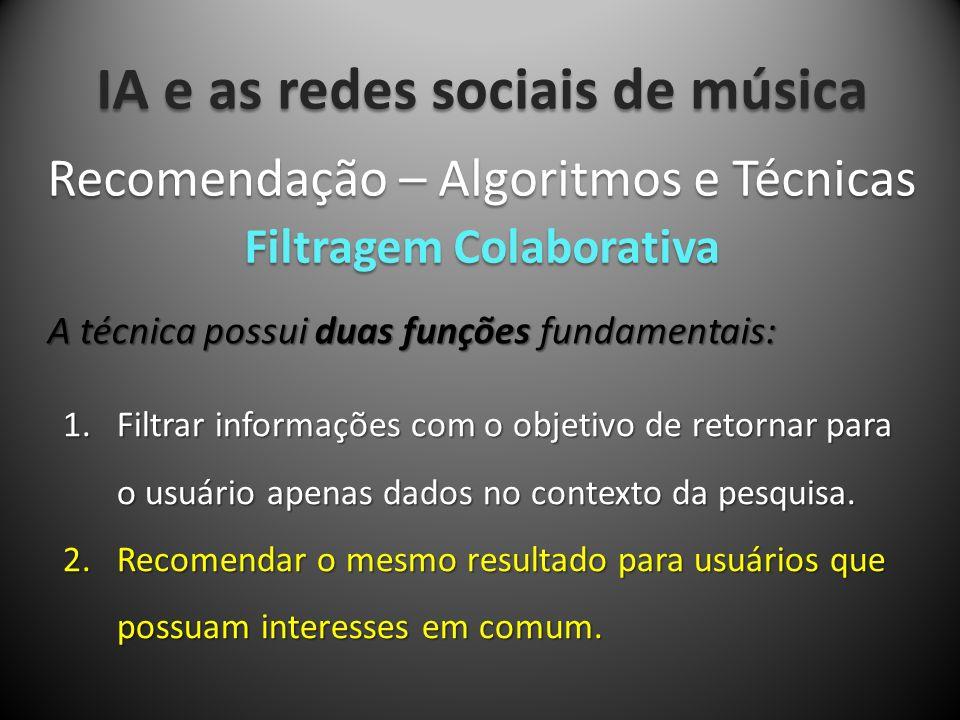 IA e as redes sociais de música A técnica possui duas funções fundamentais: Recomendação – Algoritmos e Técnicas Filtragem Colaborativa 1.Filtrar info
