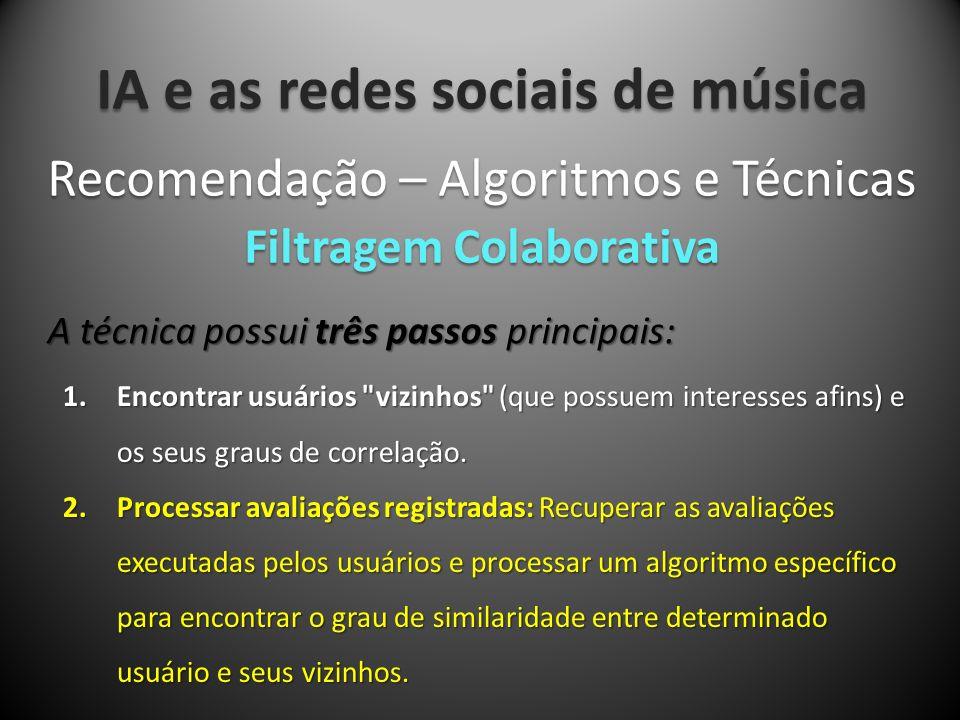 IA e as redes sociais de música A técnica possui três passos principais: Recomendação – Algoritmos e Técnicas Filtragem Colaborativa 1.Encontrar usuár