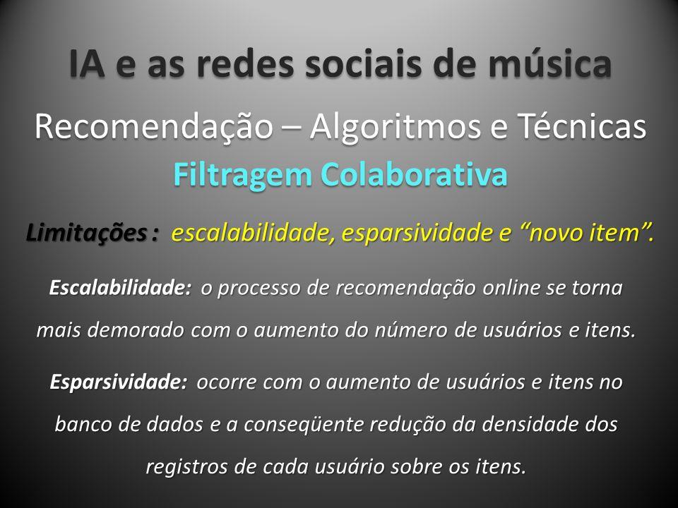 IA e as redes sociais de música Limitações : escalabilidade, esparsividade e novo item. Recomendação – Algoritmos e Técnicas Filtragem Colaborativa Es