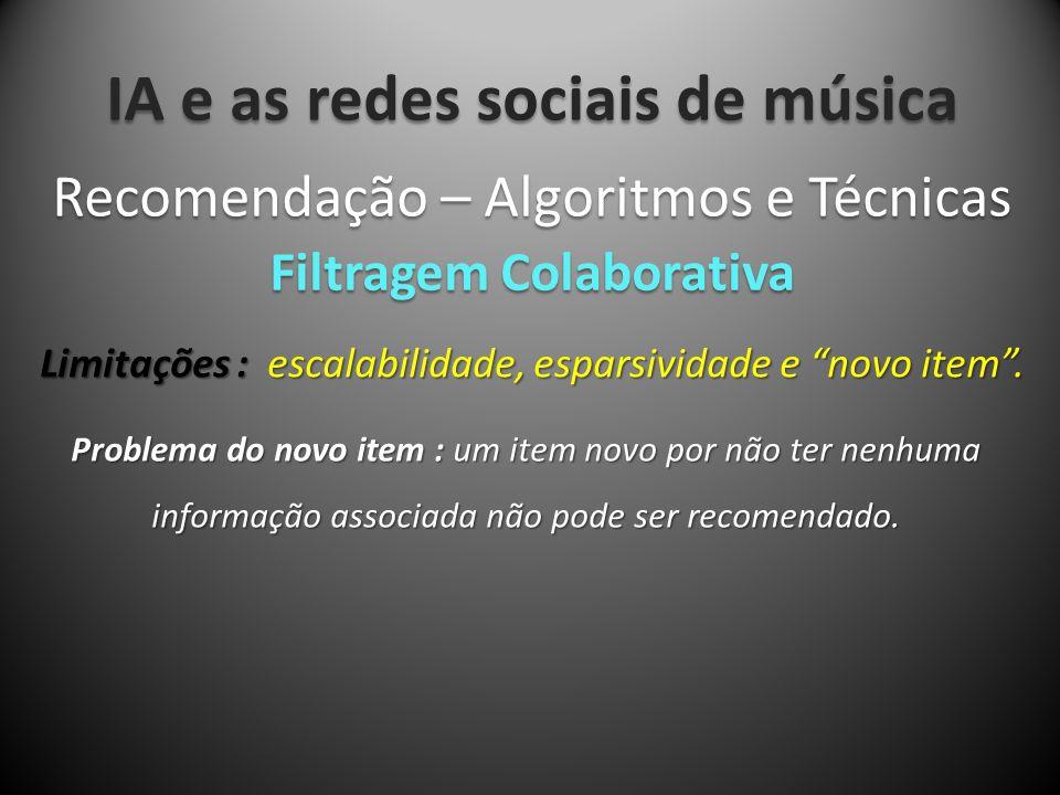 IA e as redes sociais de música Limitações : escalabilidade, esparsividade e novo item. Recomendação – Algoritmos e Técnicas Filtragem Colaborativa Pr