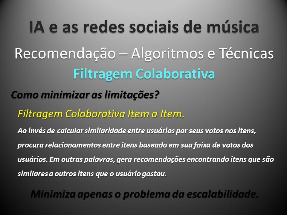 IA e as redes sociais de música Recomendação – Algoritmos e Técnicas Filtragem Colaborativa Como minimizar as limitações? Filtragem Colaborativa Item