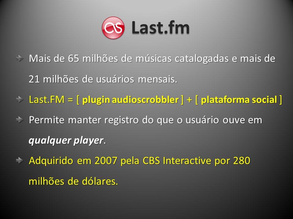 Last.fm Mais de 65 milhões de músicas catalogadas e mais de Mais de 65 milhões de músicas catalogadas e mais de 21 milhões de usuários mensais. 21 mil