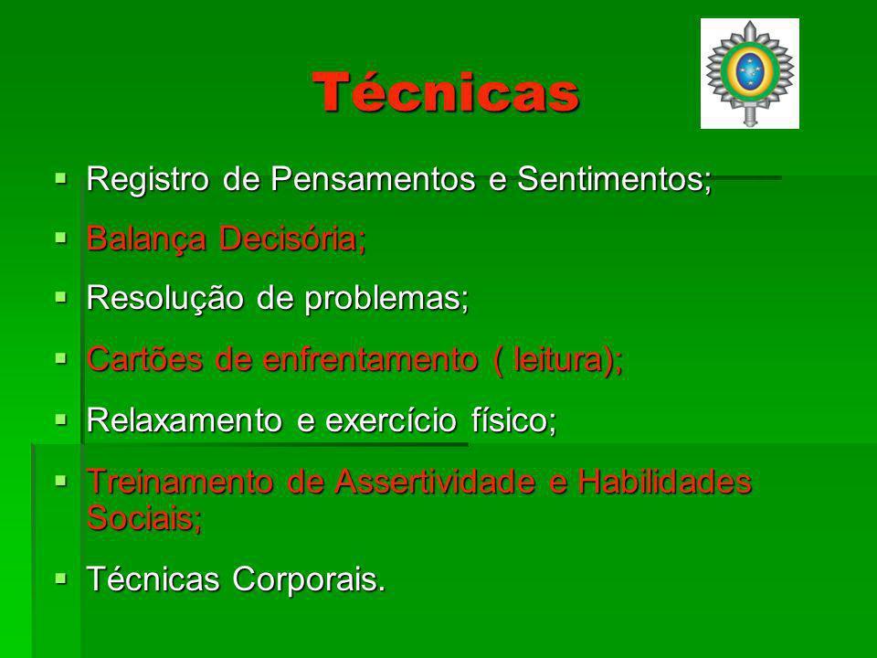 Técnicas Registro de Pensamentos e Sentimentos; Registro de Pensamentos e Sentimentos; Balança Decisória; Balança Decisória; Resolução de problemas; Resolução de problemas; Cartões de enfrentamento ( leitura); Cartões de enfrentamento ( leitura); Relaxamento e exercício físico; Relaxamento e exercício físico; Treinamento de Assertividade e Habilidades Sociais; Treinamento de Assertividade e Habilidades Sociais; Técnicas Corporais.