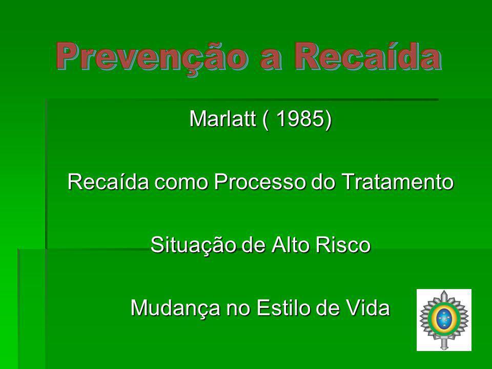 Marlatt ( 1985) Recaída como Processo do Tratamento Situação de Alto Risco Mudança no Estilo de Vida