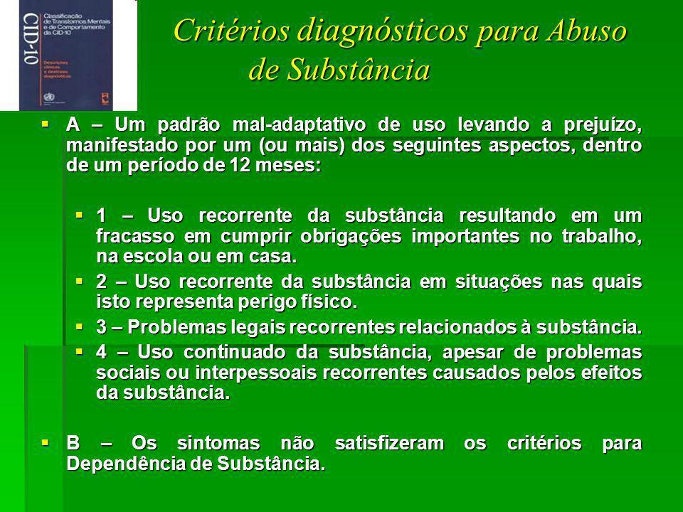 Critérios diagnósticos para Abuso de Substância Critérios diagnósticos para Abuso de Substância A – Um padrão mal-adaptativo de uso levando a prejuízo, manifestado por um (ou mais) dos seguintes aspectos, dentro de um período de 12 meses: A – Um padrão mal-adaptativo de uso levando a prejuízo, manifestado por um (ou mais) dos seguintes aspectos, dentro de um período de 12 meses: 1 – Uso recorrente da substância resultando em um fracasso em cumprir obrigações importantes no trabalho, na escola ou em casa.