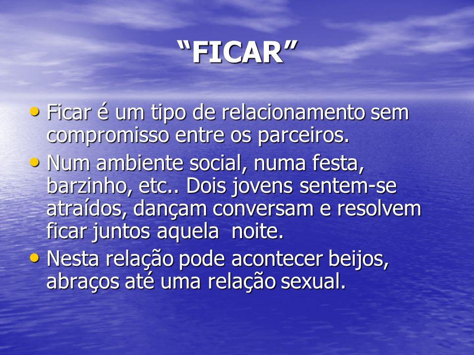 FICAR Ficar é um tipo de relacionamento sem compromisso entre os parceiros. Ficar é um tipo de relacionamento sem compromisso entre os parceiros. Num