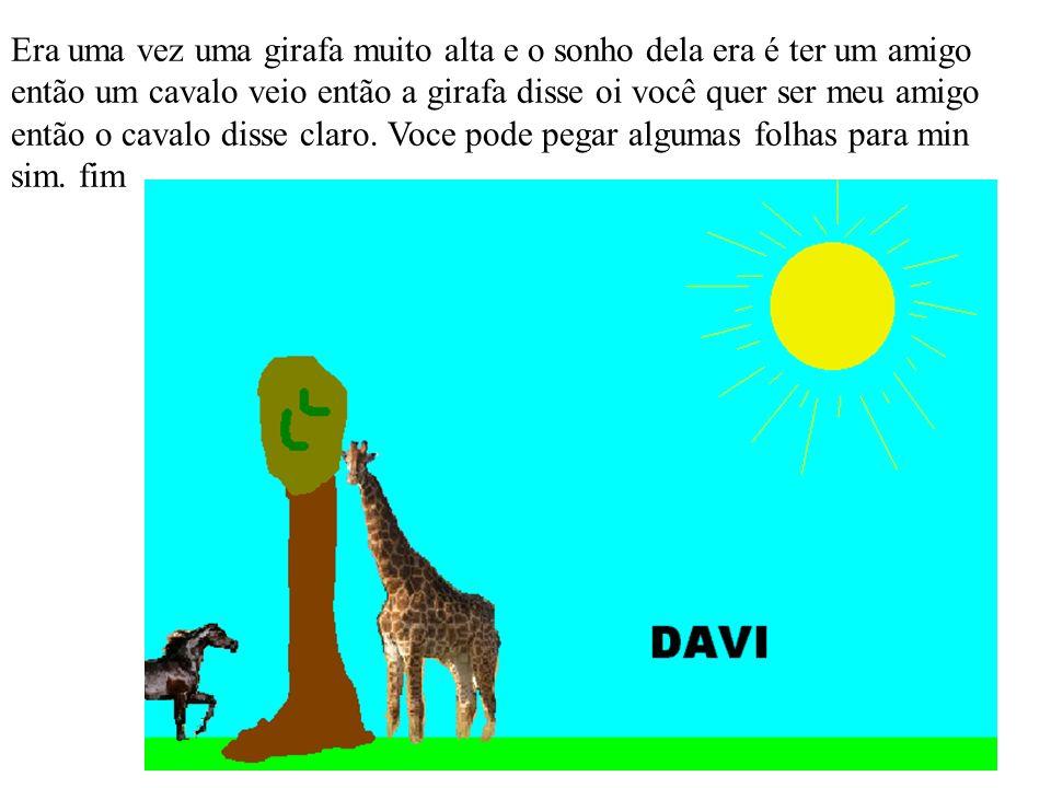 Era uma vez uma girafa muito alta e o sonho dela era é ter um amigo então um cavalo veio então a girafa disse oi você quer ser meu amigo então o cavalo disse claro.