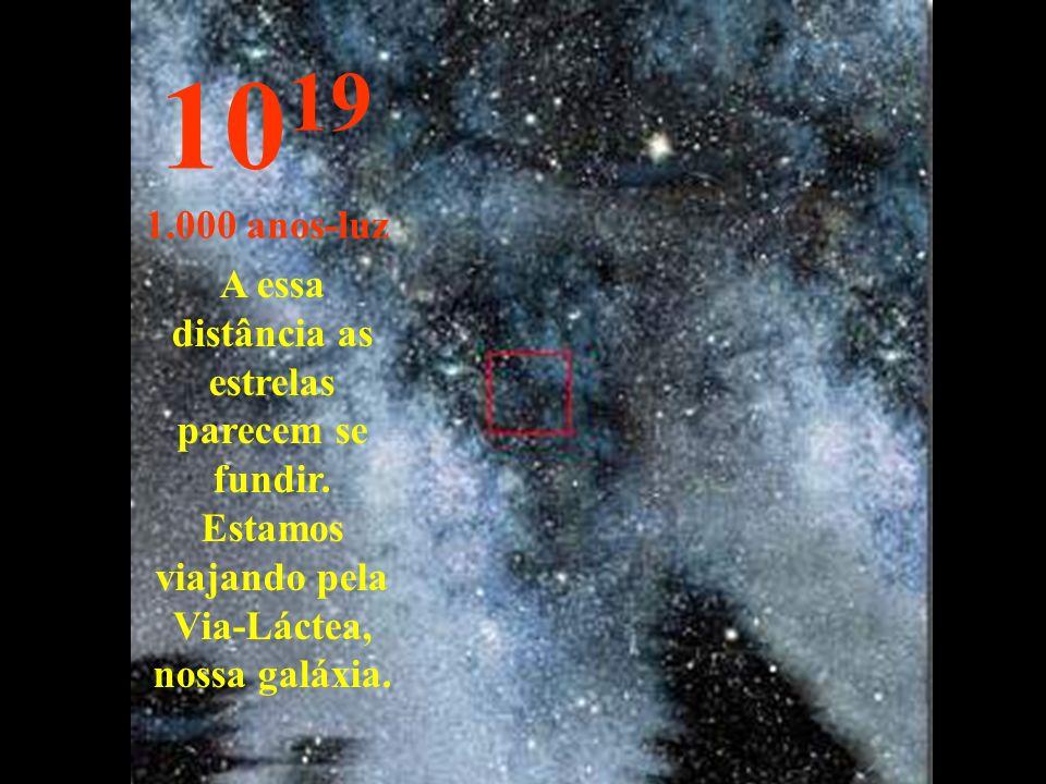 10 19 1.000 anos-luz A essa distância as estrelas parecem se fundir.