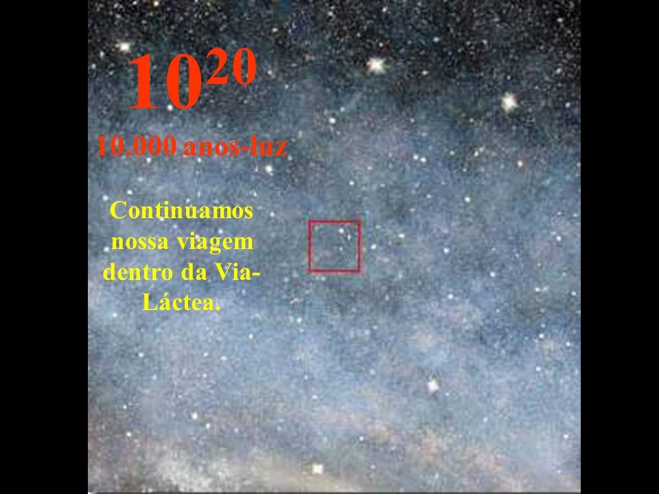 Continuamos nossa viagem dentro da Via- Láctea. 10 20 10.000 anos-luz