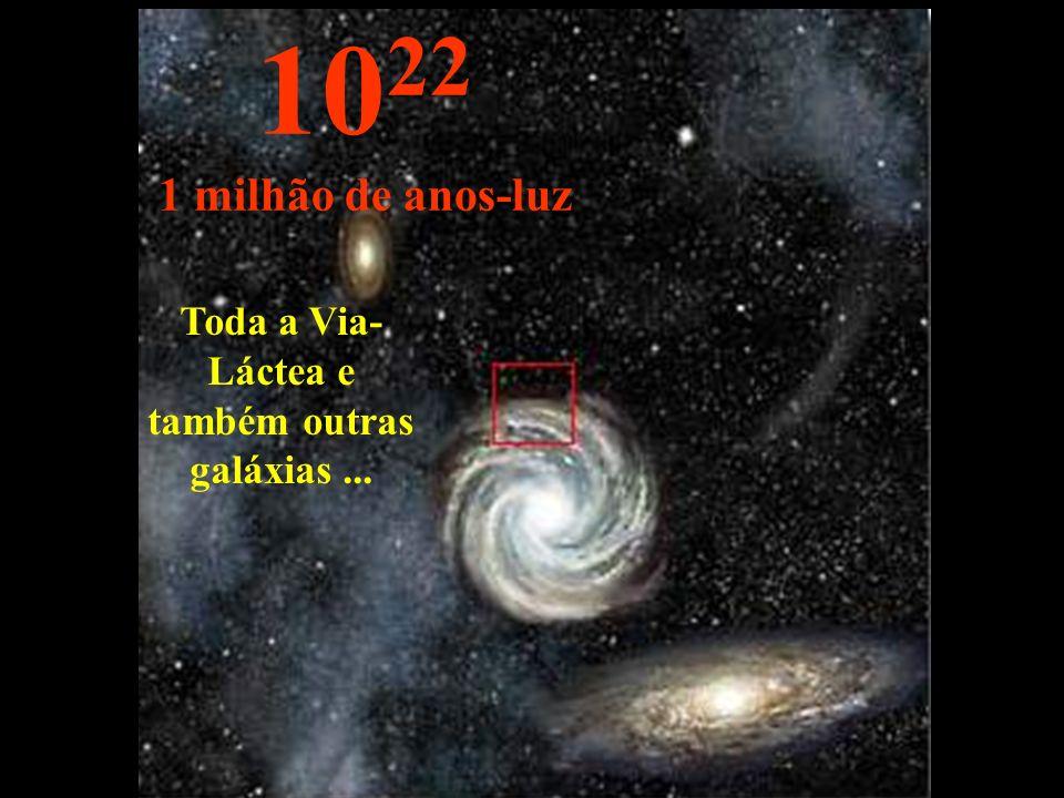 Toda a Via- Láctea e também outras galáxias... 10 22 1 milhão de anos-luz