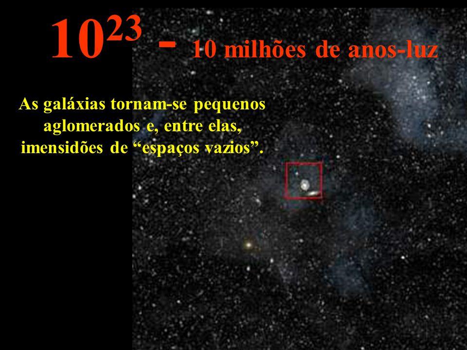 As galáxias tornam-se pequenos aglomerados e, entre elas, imensidões de espaços vazios.
