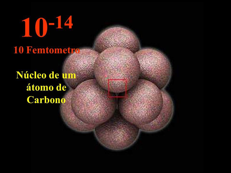 Núcleo de um átomo de Carbono 10 -14 10 Femtometro