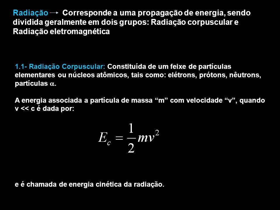 Radiação Corresponde a uma propagação de energia, sendo dividida geralmente em dois grupos: Radiação corpuscular e Radiação eletromagnética 1.1- Radiação Corpuscular: Constituída de um feixe de partículas elementares ou núcleos atômicos, tais como: elétrons, prótons, nêutrons, partículas.