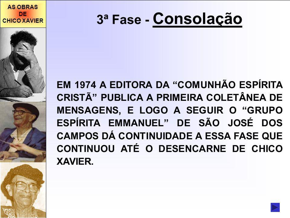 AS OBRAS DE CHICO XAVIER 3ª Fase - Consolação EM 1974 A EDITORA DA COMUNHÃO ESPÍRITA CRISTÃ PUBLICA A PRIMEIRA COLETÂNEA DE MENSAGENS, E LOGO A SEGUIR O GRUPO ESPÍRITA EMMANUEL DE SÃO JOSÉ DOS CAMPOS DÁ CONTINUIDADE A ESSA FASE QUE CONTINUOU ATÉ O DESENCARNE DE CHICO XAVIER.