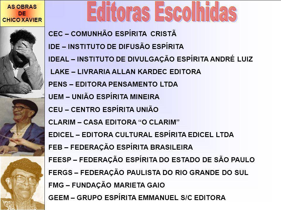 AS OBRAS DE CHICO XAVIER CEC – COMUNHÃO ESPÍRITA CRISTÃ IDE – INSTITUTO DE DIFUSÃO ESPÍRITA IDEAL – INSTITUTO DE DIVULGAÇÃO ESPÍRITA ANDRÉ LUIZ LAKE – LIVRARIA ALLAN KARDEC EDITORA PENS – EDITORA PENSAMENTO LTDA UEM – UNIÃO ESPÍRITA MINEIRA CEU – CENTRO ESPÍRITA UNIÃO CLARIM – CASA EDITORA O CLARIM EDICEL – EDITORA CULTURAL ESPÍRITA EDICEL LTDA FEB – FEDERAÇÃO ESPÍRITA BRASILEIRA FEESP – FEDERAÇÃO ESPÍRITA DO ESTADO DE SÃO PAULO FERGS – FEDERAÇÃO PAULISTA DO RIO GRANDE DO SUL FMG – FUNDAÇÃO MARIETA GAIO GEEM – GRUPO ESPÍRITA EMMANUEL S/C EDITORA