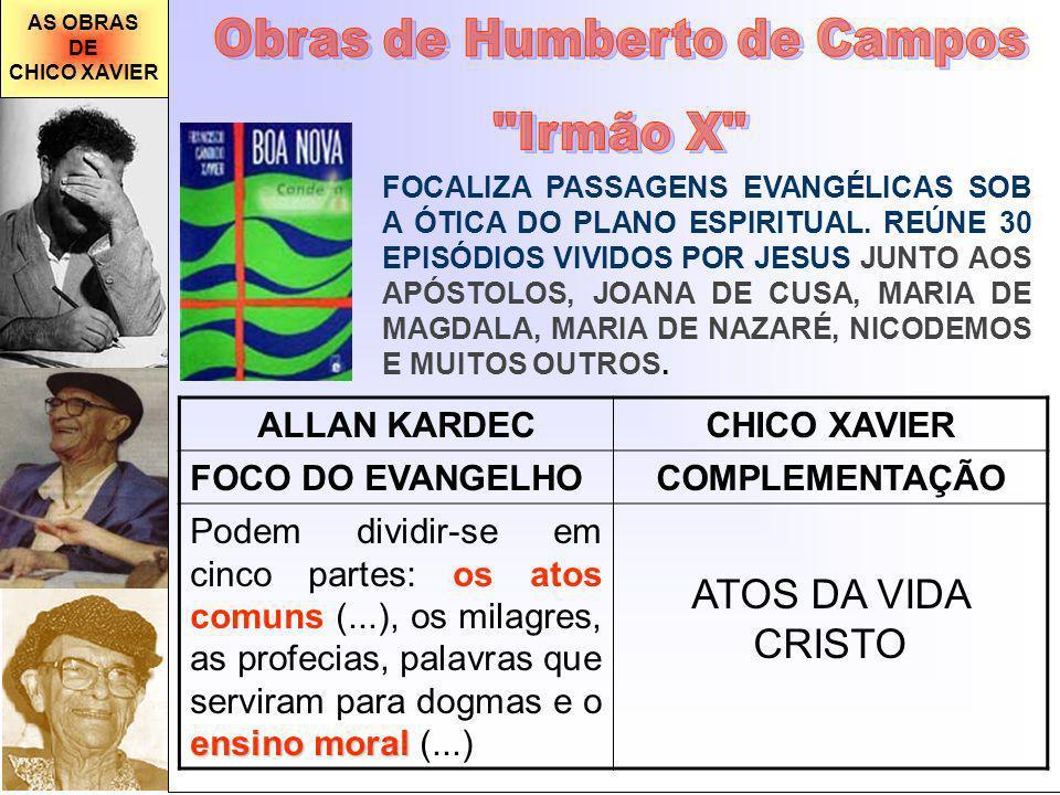 AS OBRAS DE CHICO XAVIER FOCALIZA PASSAGENS EVANGÉLICAS SOB A ÓTICA DO PLANO ESPIRITUAL. REÚNE 30 EPISÓDIOS VIVIDOS POR JESUS JUNTO AOS APÓSTOLOS, JOA