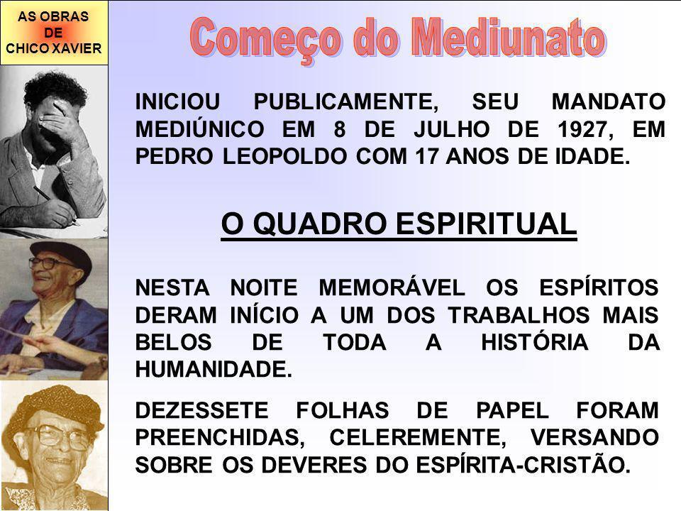 AS OBRAS DE CHICO XAVIER INICIOU PUBLICAMENTE, SEU MANDATO MEDIÚNICO EM 8 DE JULHO DE 1927, EM PEDRO LEOPOLDO COM 17 ANOS DE IDADE.