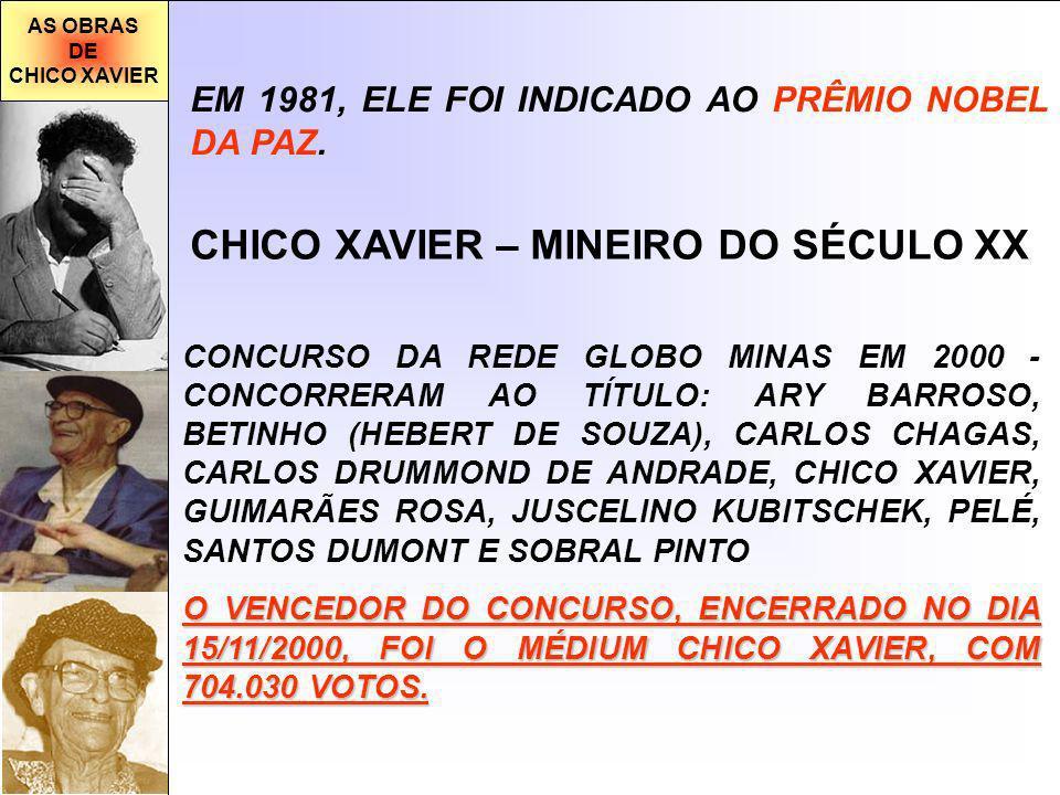 AS OBRAS DE CHICO XAVIER EM 1981, ELE FOI INDICADO AO PRÊMIO NOBEL DA PAZ.