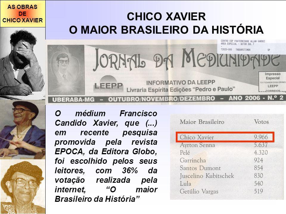 AS OBRAS DE CHICO XAVIER O MAIOR BRASILEIRO DA HISTÓRIA O médium Francisco Candido Xavier, que (...) em recente pesquisa promovida pela revista EPOCA,