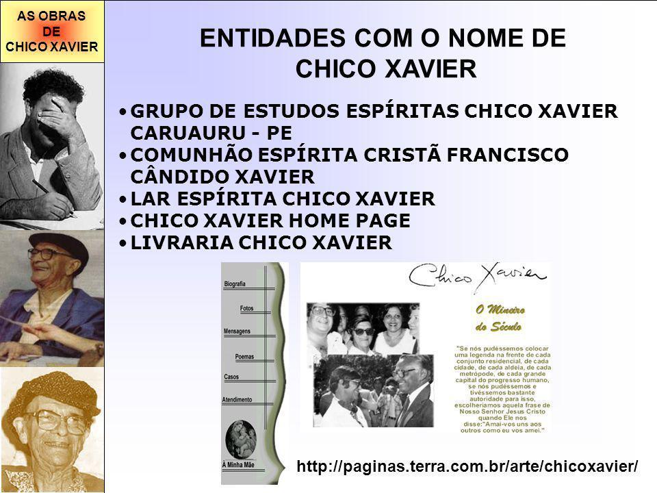 AS OBRAS DE CHICO XAVIER ENTIDADES COM O NOME DE CHICO XAVIER GRUPO DE ESTUDOS ESPÍRITAS CHICO XAVIER CARUAURU - PE COMUNHÃO ESPÍRITA CRISTÃ FRANCISCO CÂNDIDO XAVIER LAR ESPÍRITA CHICO XAVIER CHICO XAVIER HOME PAGE LIVRARIA CHICO XAVIER http://paginas.terra.com.br/arte/chicoxavier/