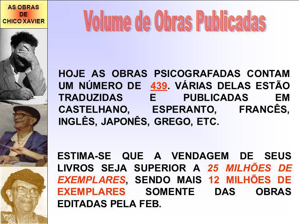 AS OBRAS DE CHICO XAVIER HOJE AS OBRAS PSICOGRAFADAS CONTAM UM NÚMERO DE 439. VÁRIAS DELAS ESTÃO TRADUZIDAS E PUBLICADAS EM CASTELHANO, ESPERANTO, FRA
