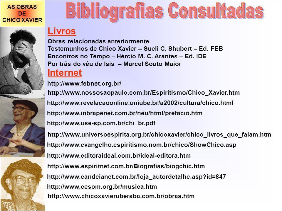 AS OBRAS DE CHICO XAVIER http://www.use-sp.com.br/chi_br.pdf http://www.revelacaoonline.uniube.br/a2002/cultura/chico.html http://www.universoespirita.org.br/chicoxavier/chico_livros_que_falam.htm http://www.evangelho.espiritismo.nom.br/chico/ShowChico.asp http://www.editoraideal.com.br/ideal-editora.htm http://www.espiritnet.com.br/Biografias/biogchic.htm http://www.candeianet.com.br/loja_autordetalhe.asp?id=847 http://www.cesom.org.br/musica.htm http://www.inbrapenet.com.br/neu/html/prefacio.htm Internet http://www.nossosaopaulo.com.br/Espiritismo/Chico_Xavier.htm http://www.febnet.org.br/ Livros Obras relacionadas anteriormente Testemunhos de Chico Xavier – Sueli C.