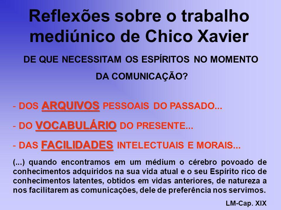 Reflexões sobre o trabalho mediúnico de Chico Xavier ARQUIVOS - DOS ARQUIVOS PESSOAIS DO PASSADO... VOCABULÁRIO - DO VOCABULÁRIO DO PRESENTE... FACILI