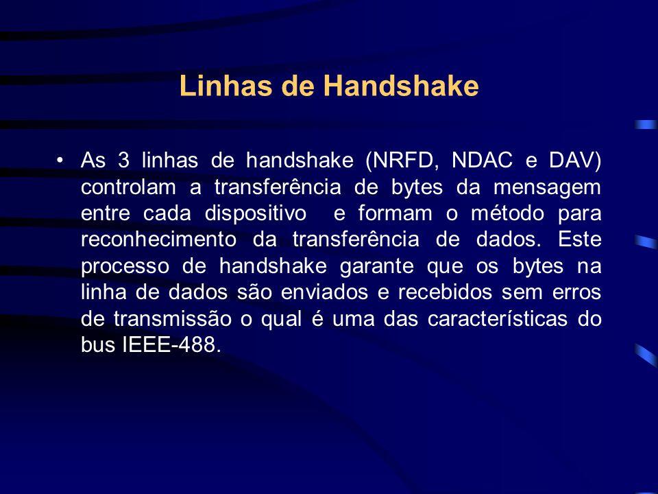 Linhas de Handshake As 3 linhas de handshake (NRFD, NDAC e DAV) controlam a transferência de bytes da mensagem entre cada dispositivo e formam o métod