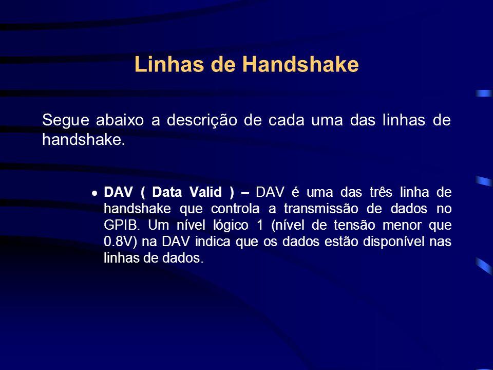 Linhas de Handshake Segue abaixo a descrição de cada uma das linhas de handshake. DAV ( Data Valid ) – DAV é uma das três linha de handshake que contr
