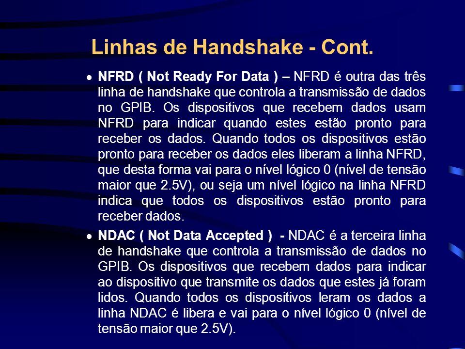 Linhas de Handshake - Cont. NFRD ( Not Ready For Data ) – NFRD é outra das três linha de handshake que controla a transmissão de dados no GPIB. Os dis