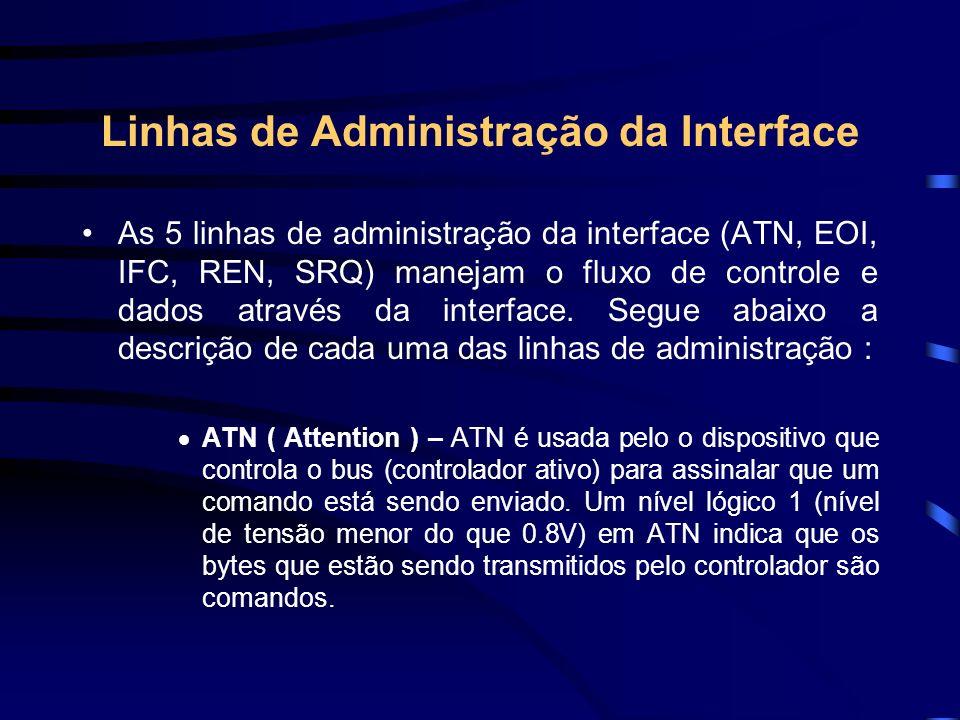 Linhas de Administração da Interface As 5 linhas de administração da interface (ATN, EOI, IFC, REN, SRQ) manejam o fluxo de controle e dados através d