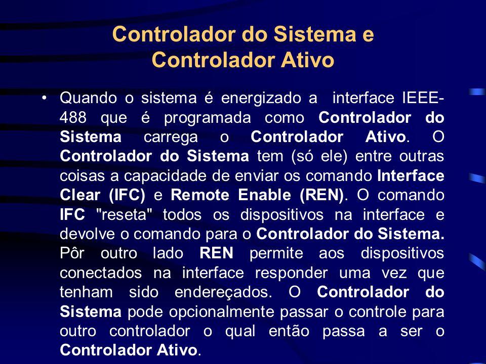 Listeners, Talkers e Controllers Existem três tipos de dispositivos que podem ser conectados a interface IEEE-488 : Listeners, Talkers e Controllers.