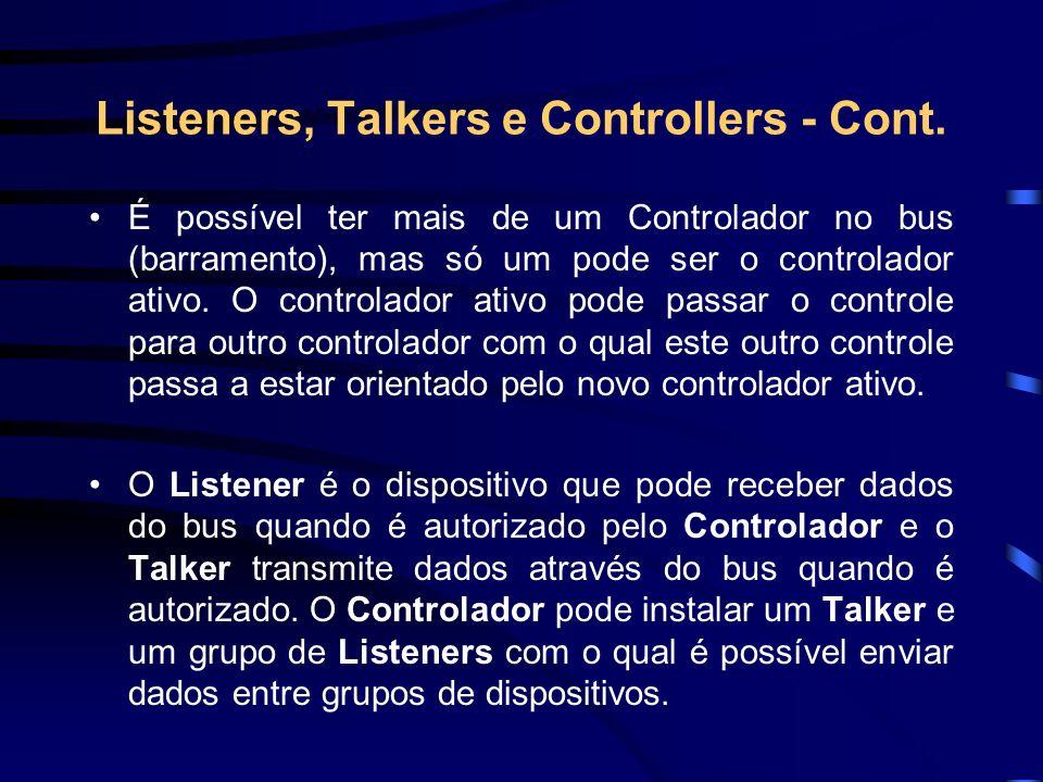 Listeners, Talkers e Controllers - Cont. É possível ter mais de um Controlador no bus (barramento), mas só um pode ser o controlador ativo. O controla