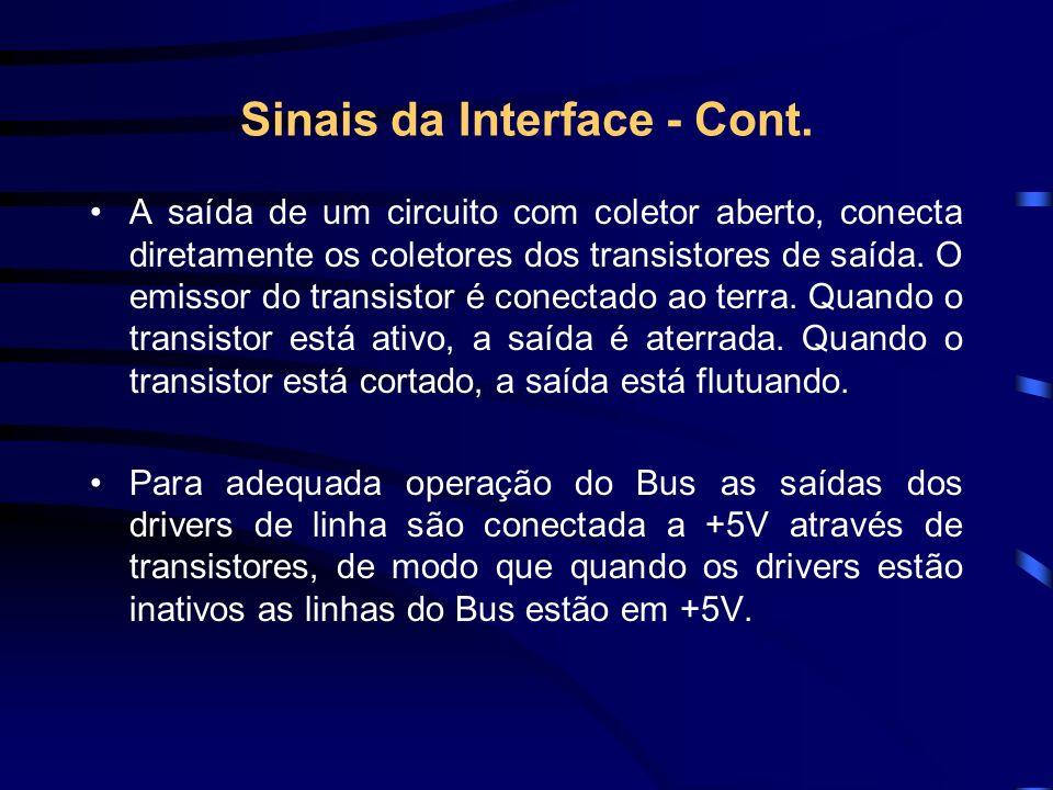 Sinais da Interface - Cont. A saída de um circuito com coletor aberto, conecta diretamente os coletores dos transistores de saída. O emissor do transi
