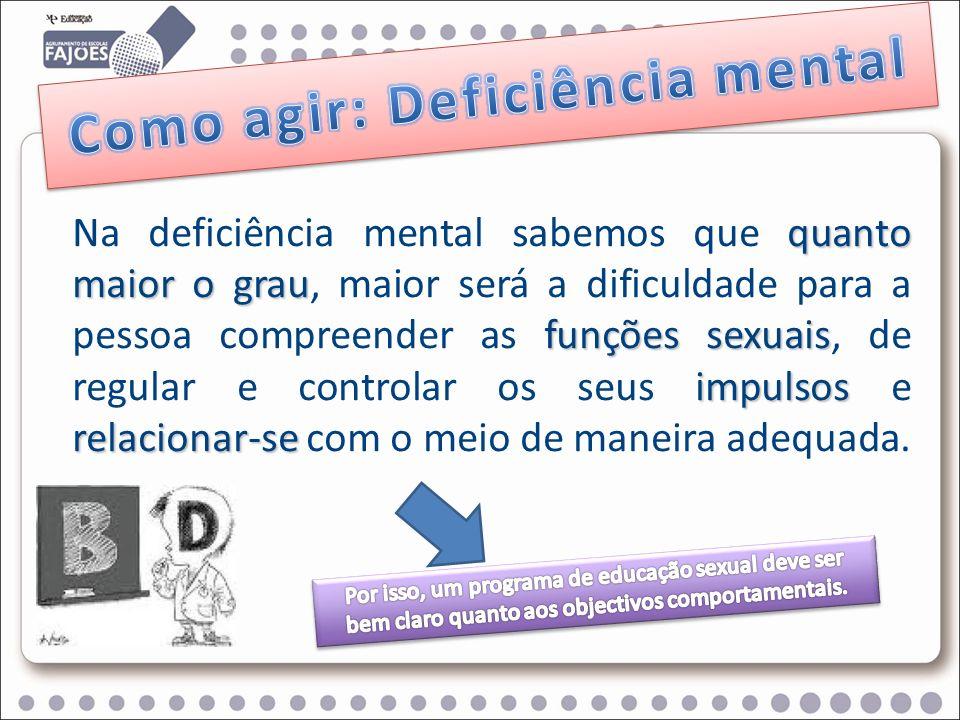 quanto maior o grau funções sexuais impulsos relacionar-se Na deficiência mental sabemos que quanto maior o grau, maior será a dificuldade para a pess