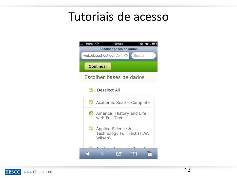 www.ebsco.com Tutoriais de acesso 13