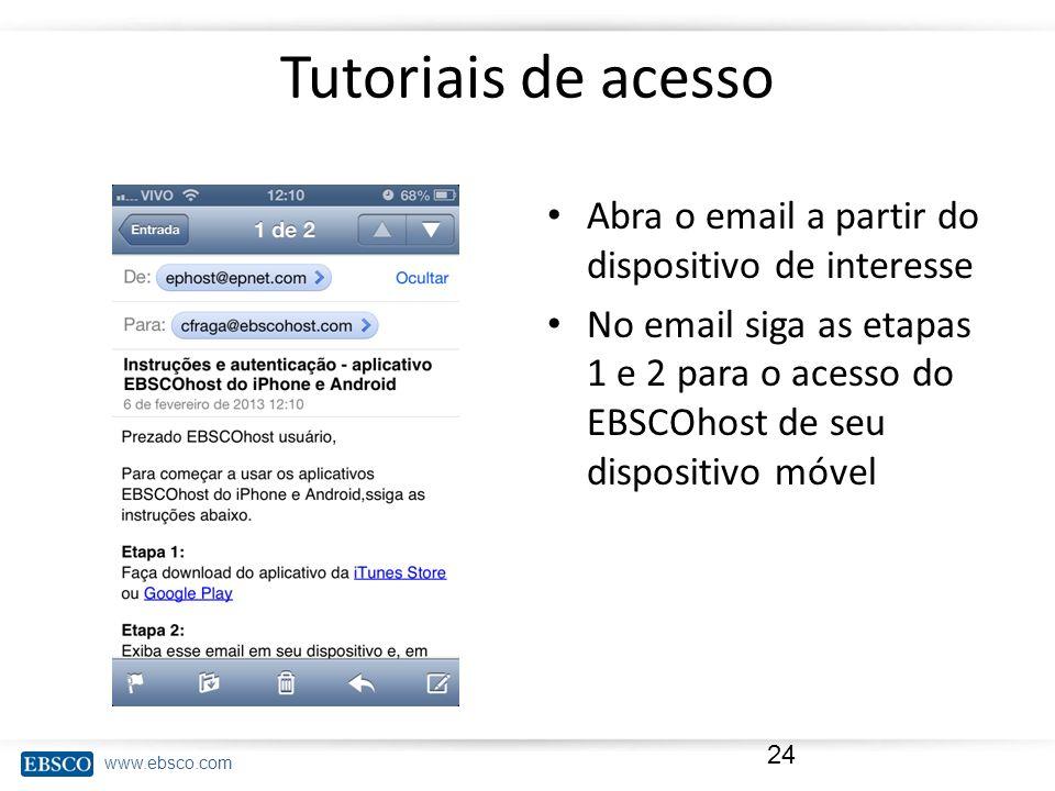 www.ebsco.com Tutoriais de acesso Abra o email a partir do dispositivo de interesse No email siga as etapas 1 e 2 para o acesso do EBSCOhost de seu di