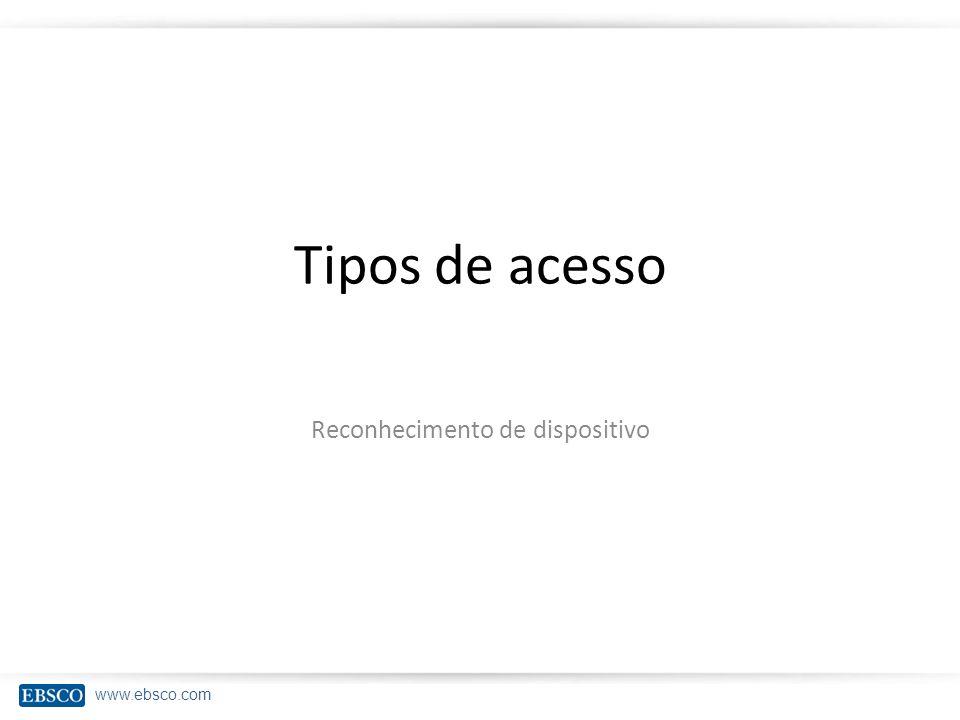www.ebsco.com Tipos de acesso Reconhecimento de dispositivo