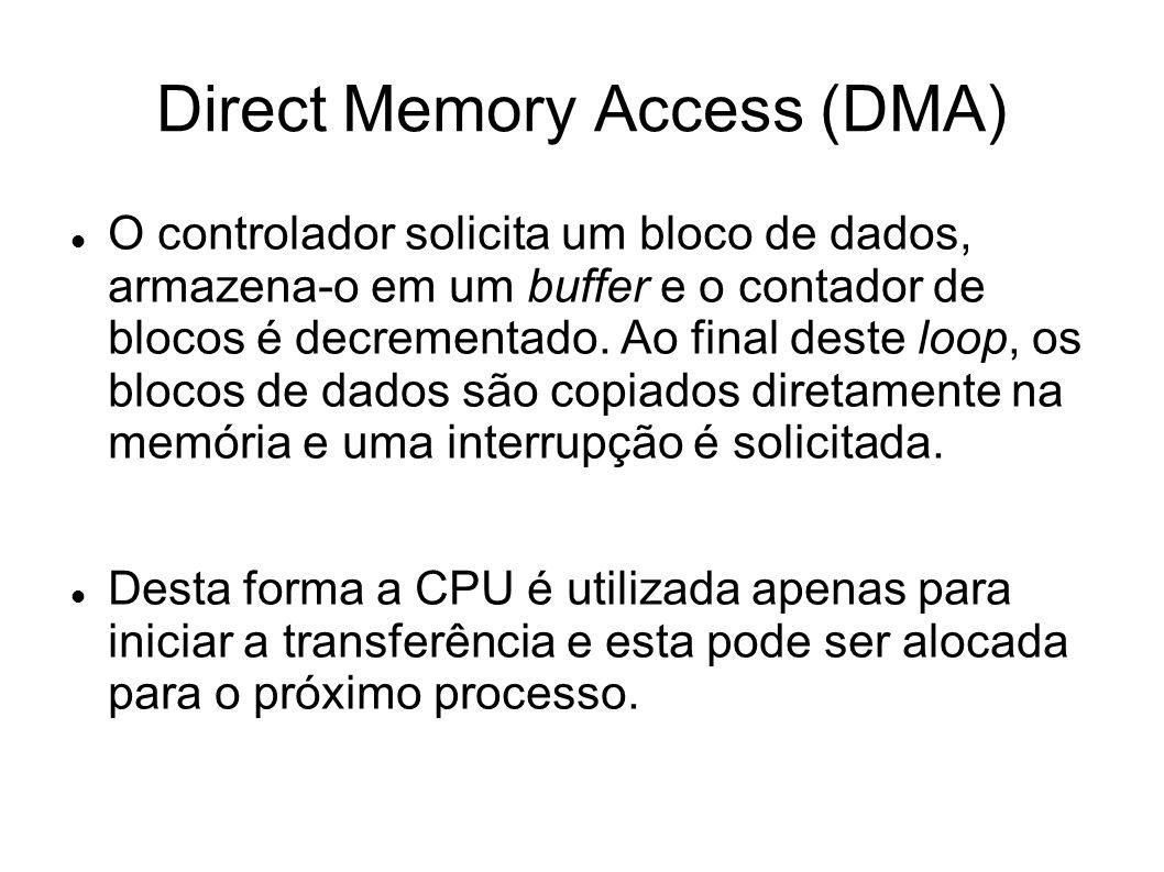 Direct Memory Access (DMA) O controlador solicita um bloco de dados, armazena-o em um buffer e o contador de blocos é decrementado. Ao final deste loo