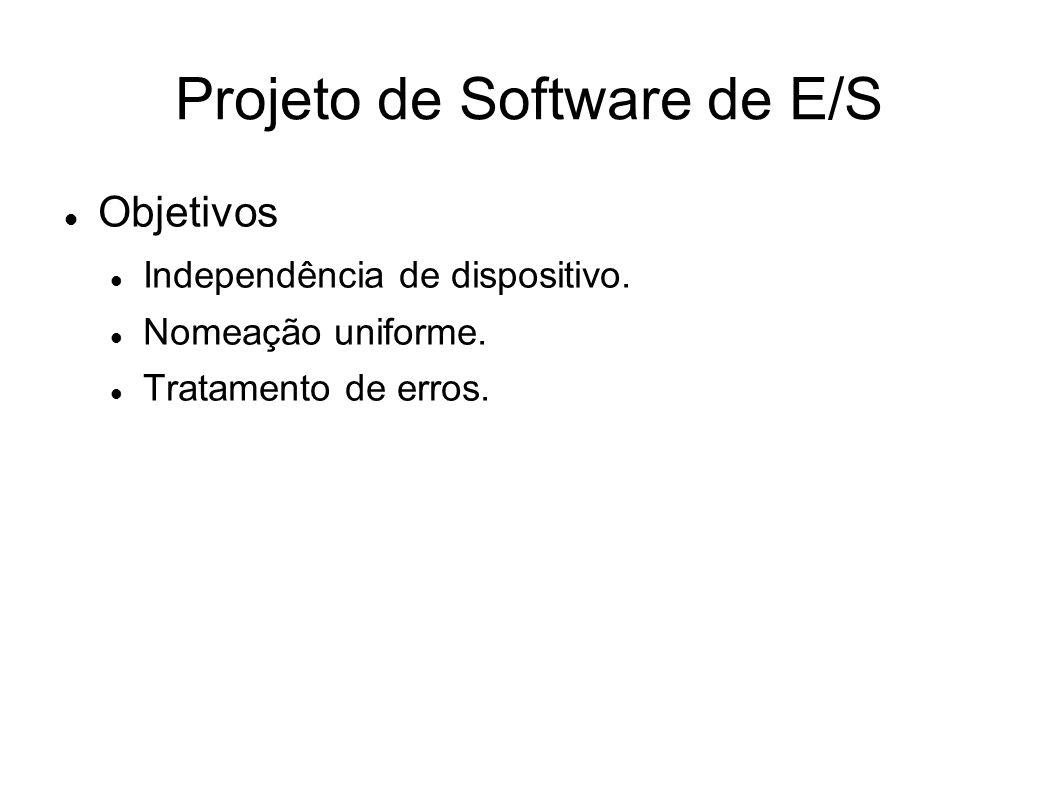 Projeto de Software de E/S Objetivos Independência de dispositivo. Nomeação uniforme. Tratamento de erros.