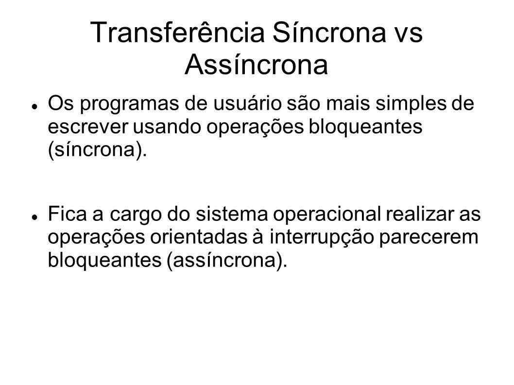 Transferência Síncrona vs Assíncrona Os programas de usuário são mais simples de escrever usando operações bloqueantes (síncrona). Fica a cargo do sis