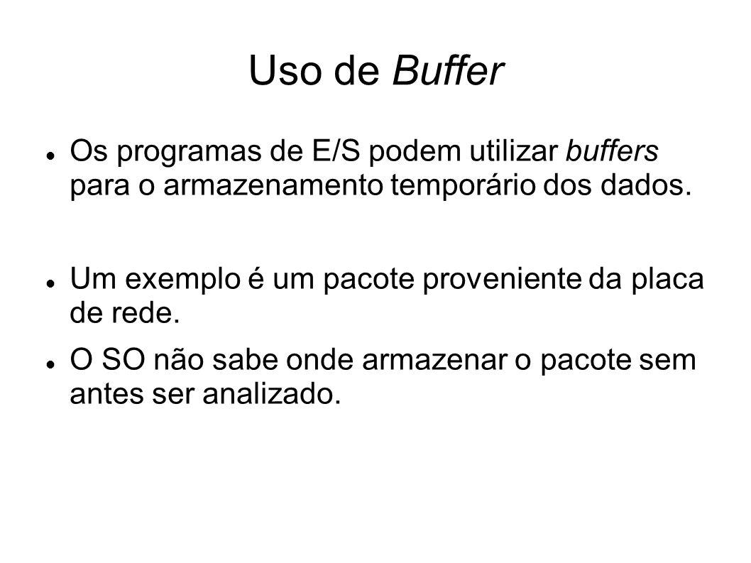 Uso de Buffer Os programas de E/S podem utilizar buffers para o armazenamento temporário dos dados. Um exemplo é um pacote proveniente da placa de red