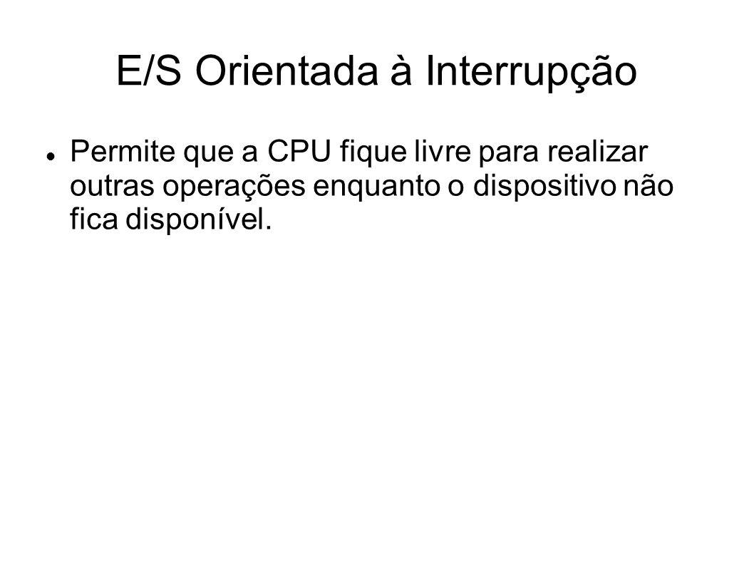 E/S Orientada à Interrupção Permite que a CPU fique livre para realizar outras operações enquanto o dispositivo não fica disponível.