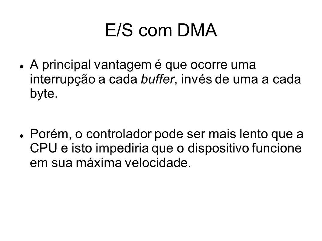 E/S com DMA A principal vantagem é que ocorre uma interrupção a cada buffer, invés de uma a cada byte. Porém, o controlador pode ser mais lento que a