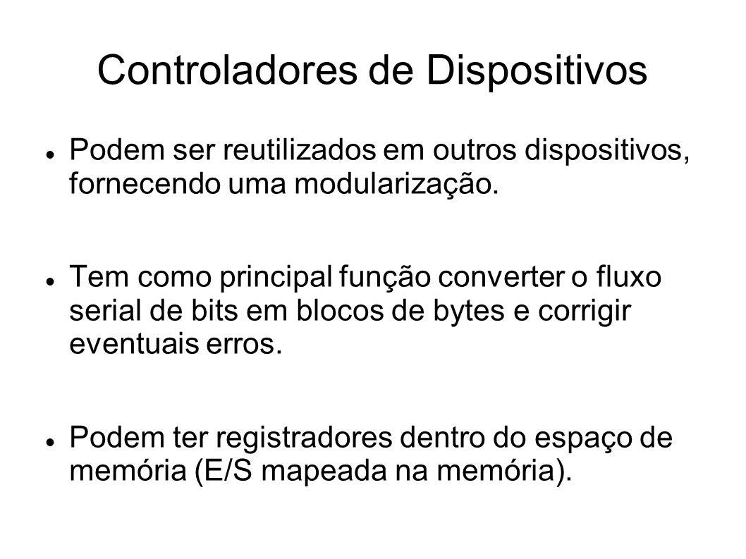 Controladores de Dispositivos Podem ser reutilizados em outros dispositivos, fornecendo uma modularização.