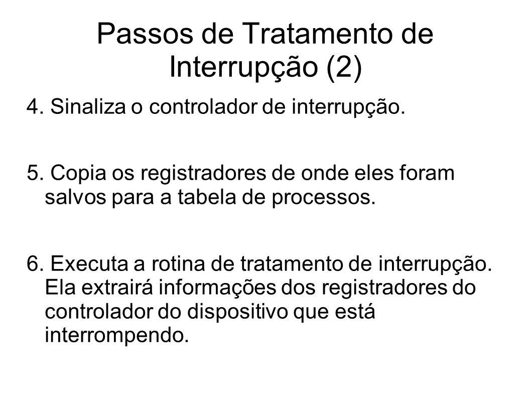 Passos de Tratamento de Interrupção (2) 4. Sinaliza o controlador de interrupção. 5. Copia os registradores de onde eles foram salvos para a tabela de