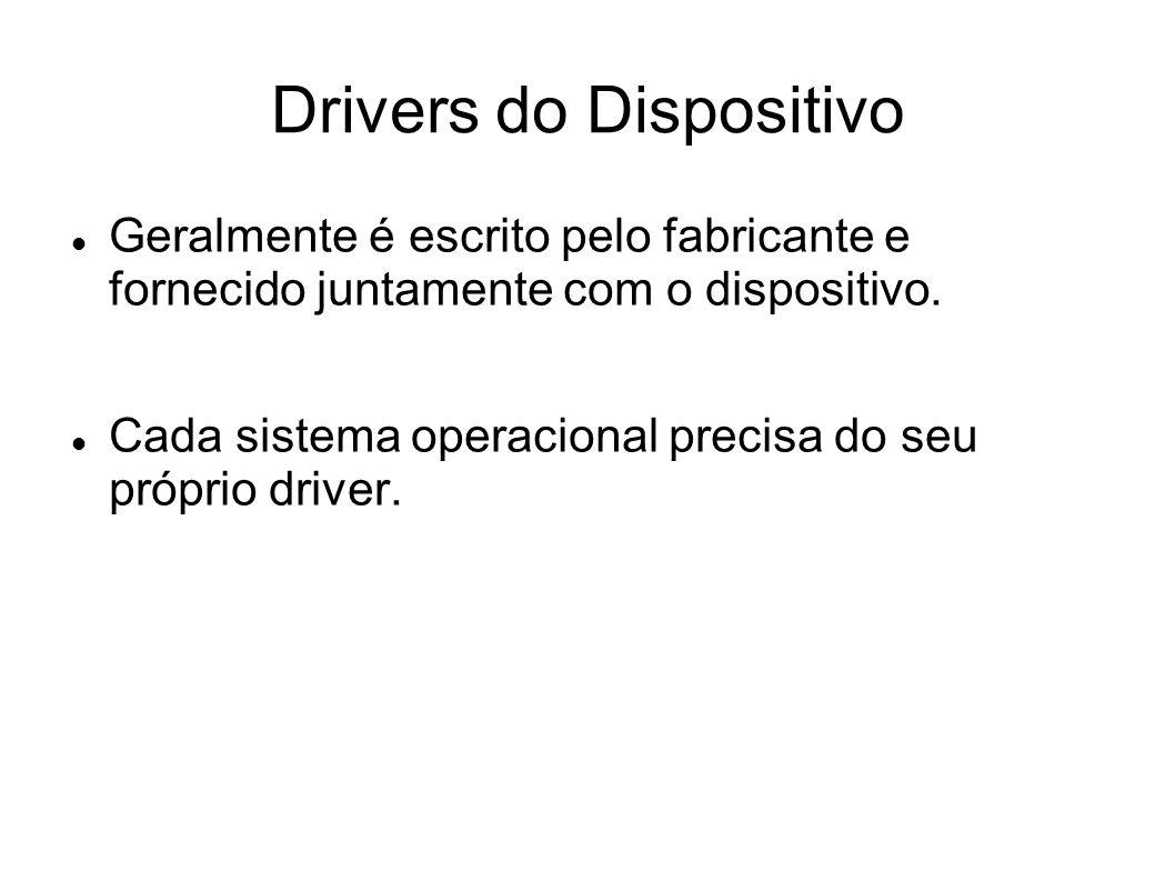 Drivers do Dispositivo Geralmente é escrito pelo fabricante e fornecido juntamente com o dispositivo. Cada sistema operacional precisa do seu próprio